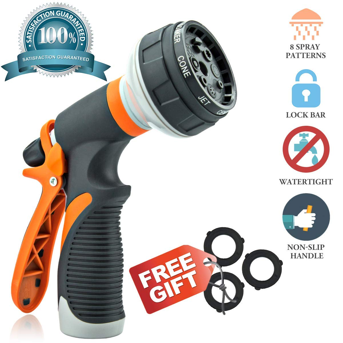 Hose Nozzle Garden Hose Nozzle Hose Spray Nozzle Heavy Duty High Pressure Leak Free 8 Pattern for Pets Shower Watering Plant Washing Cars