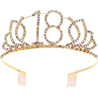 Frcolor Tiara de cumpleaños, coronas de diamantes