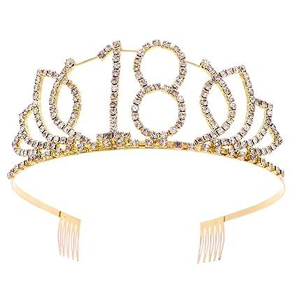 Frcolor Corona Cumpleaños 18 Años Diadema Cumpleaños Mujer Tiara Cristal con Peines (Oro)