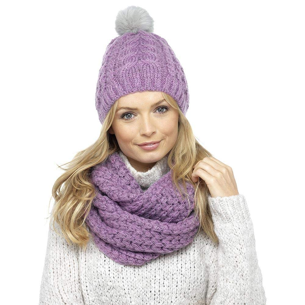 Women Girls Knitted Faux Fur Pom Pom Hat and Scarf Set
