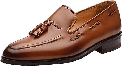Men/'s Handmade Genuine Brown Leather Tassels Loafers /& Slip On Formal Shoes