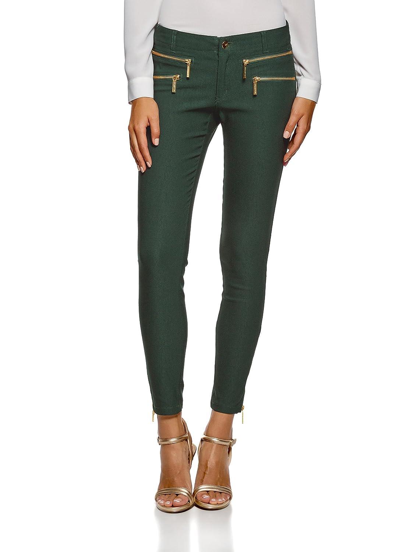 oodji Ultra Femme Pantalon Étroit Décoré de Zips  Amazon.fr  Vêtements et  accessoires 5a60f00926d3