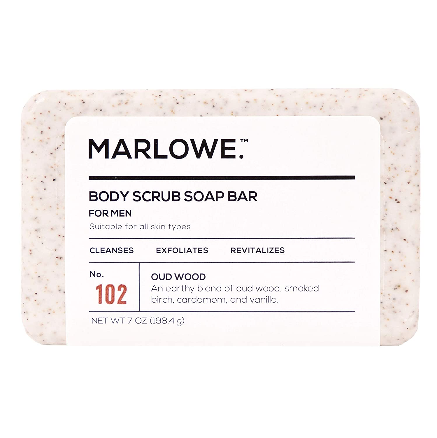 MARLOWE. No. 102 Men's Body Scrub Soap 7 oz | Earthy Oud Wood Scent | Best Exfoliating Bar for Men | Made with Natural Ingredients | Green Tea Extract | Updated Scent