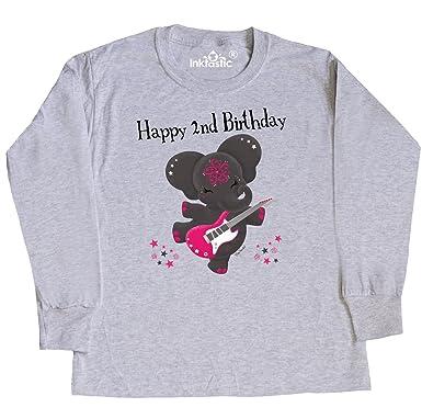 Amazon Inktastic Aria Happy 2nd Birthday Black Youth Long Sleeve T Shirt