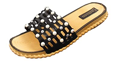 c140778b2890 Womens Ladies Pearl Slider Flat Summer Sandals Cage Slides Bling Diamante  Size (UK 2