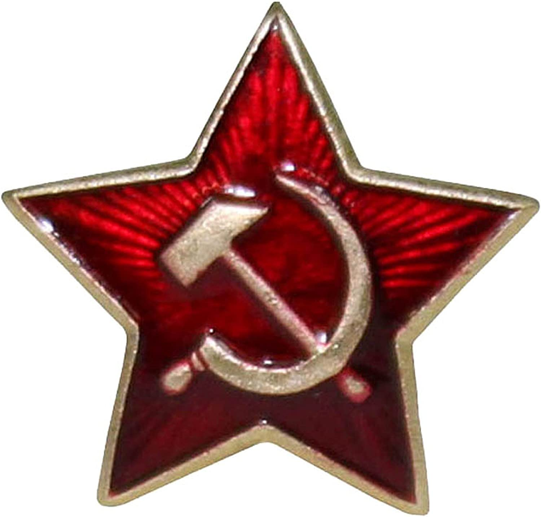 Soviet USSR Russian Army Military Green Star Ushanka Hat Cap Beret Metal Badge