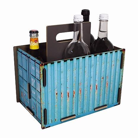 werkhaus Flaschentr/äger Sixpack in Container-Optik blau CO1501