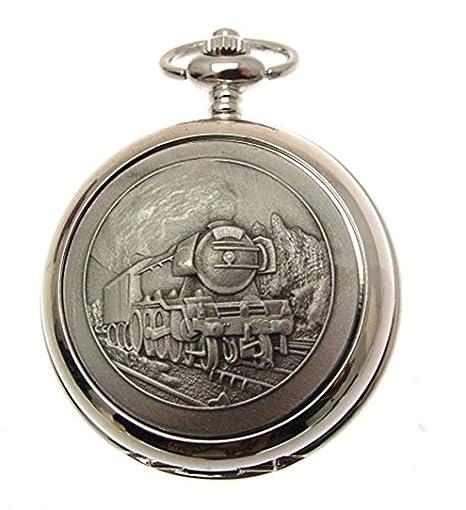 Grabado Incluido - Reloj de Bolsillo Color Peltre con Cuarzo Reloj de Bolsillo - diseño Flying Scotsman 58: Amazon.es: Relojes