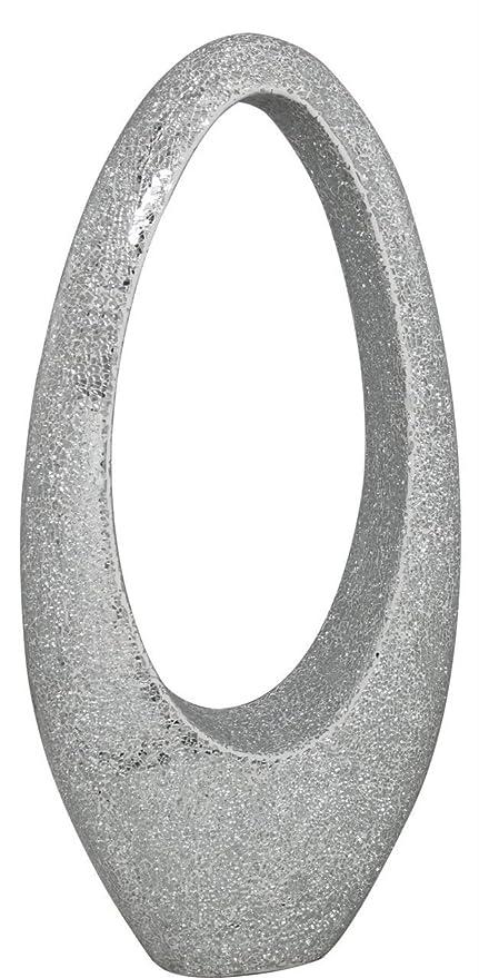 Big Living Silver Sparkle Mosaic Large Fibreglass Oval Decoration
