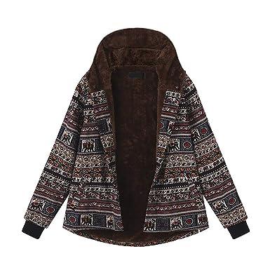 Linlink Chaqueta para de Mujeres Invierno Caliente Outwear botón Estampado étnico Vintage étnicas de impresión de Lana Gruesa con Capucha Abrigos: ...