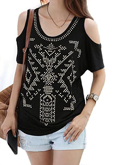 2e1a07bf83 Asher Women s Summer Gold Sequin Off Shoulder Casual Blouse Shirts Tops (US  6-8. Roll over image to ...