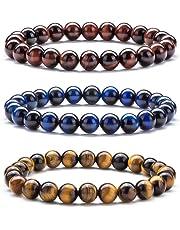 Hamoery Men Women 8mm Natural Stone Beads Bracelet Elastic Yoga Agate Bracelet Bangle