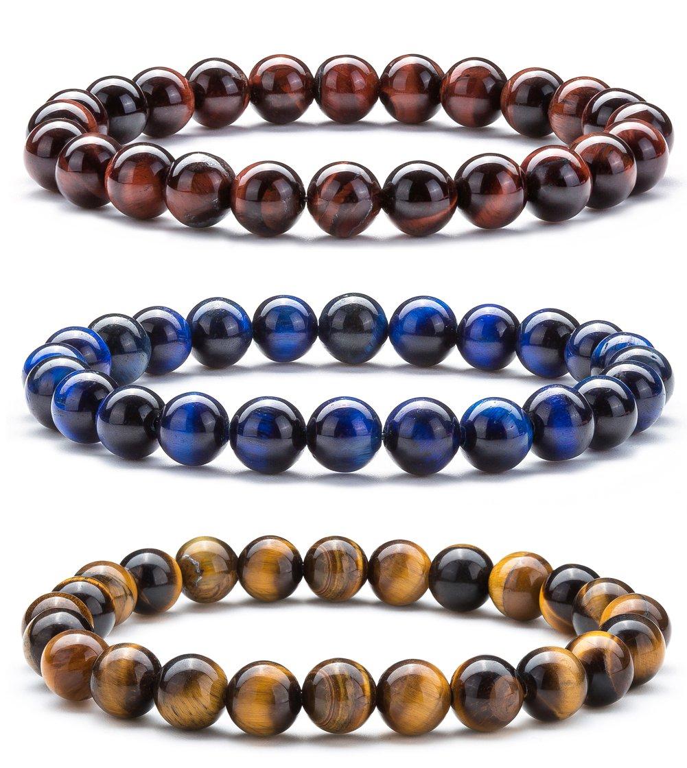 Hamoery Men Women 8mm Natural Stone Beads Bracelet Set Elastic Yoga Agate Bracelet Bangle (Set 1)