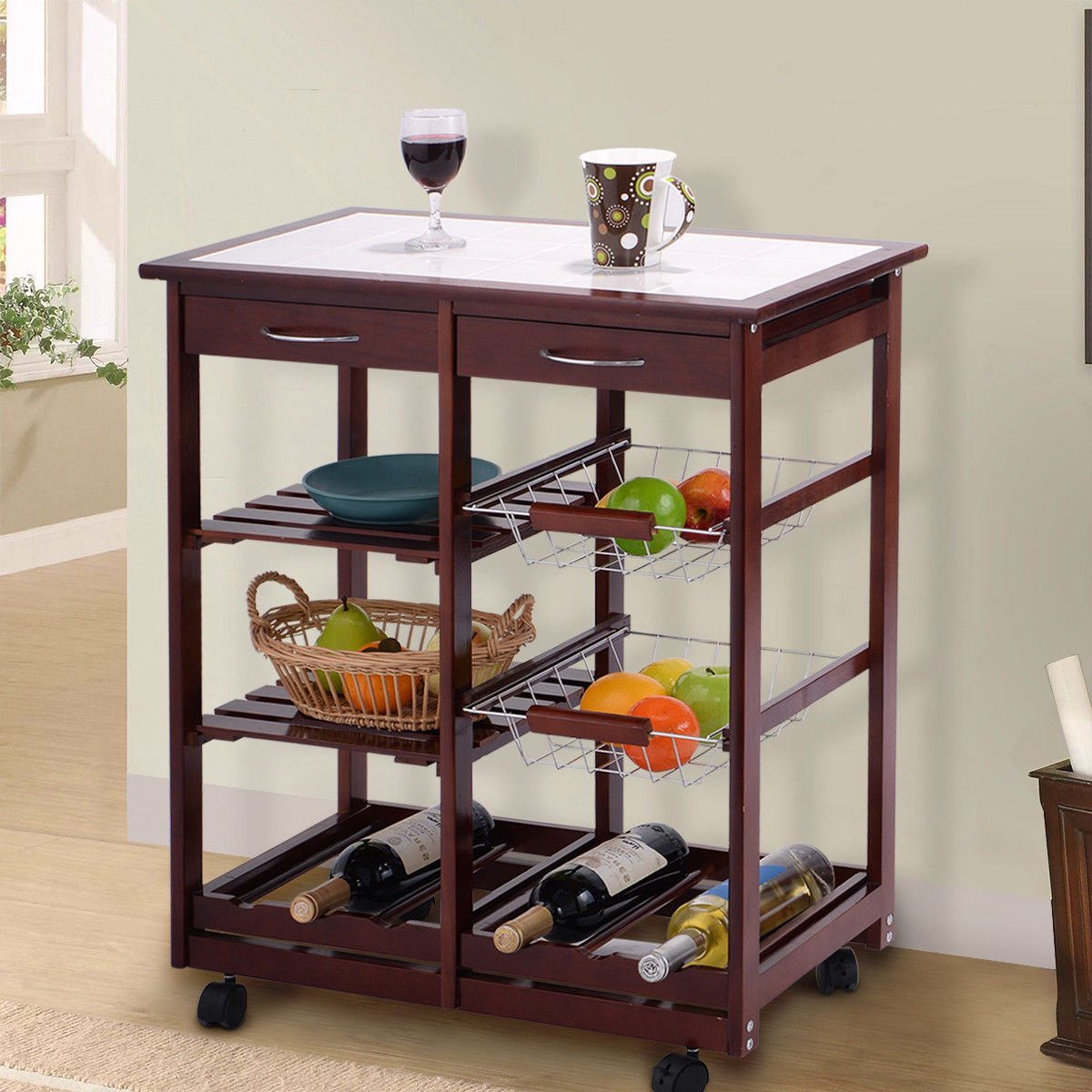 lunanice Portable 4-tier Rolling Wood Kitchen Trolley Cart w/Storage Drawers Dining Stand