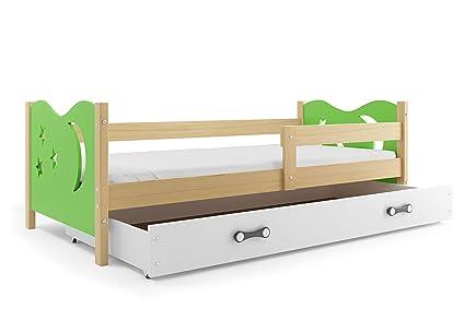Lettino per bambini, Nicolò 160x80 (Verde), letto con cassettone, cameretta  per bambini e ragazzi, telaio in legno di pino massello.