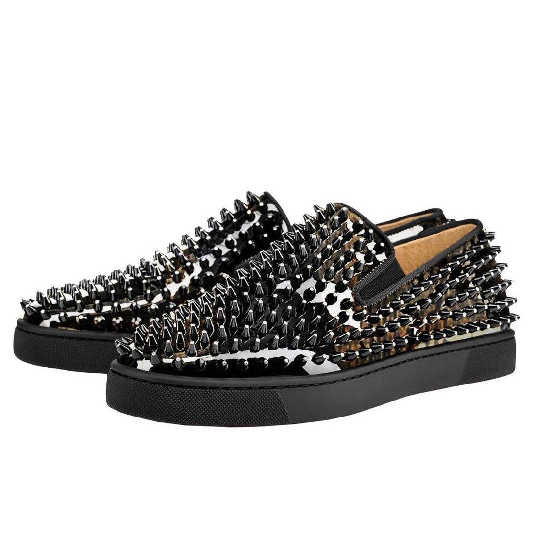 Cuckoo Spike Loafers für Männer Lackleder Slip auf Schuhe Schwarz