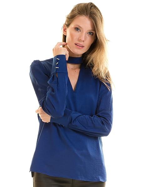 Morgan de Toi Blusa satén Azul con Cuello Choker: Amazon.es: Ropa y accesorios