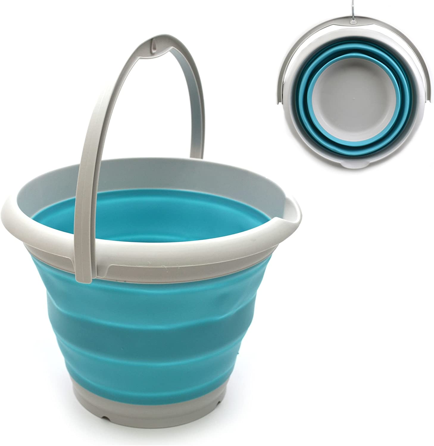Portable Fishing Water Pail Foldable Square Tub SAMMART 5L Sqare Collapsible Plastic Bucket Space Saving Outdoor Waterpot Hellblau