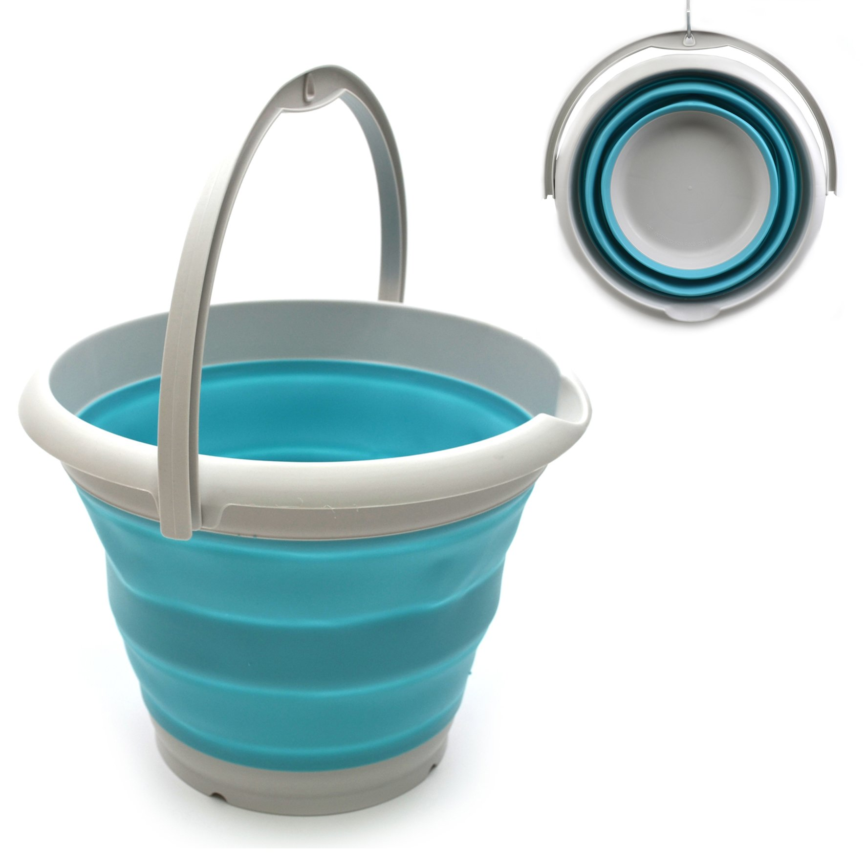 SAMMART 10L (2.6 Gallon) Collapsible Plastic Bucket - Foldable Round Tub - Portable Fishing Water Pail - Space Saving Outdoor Waterpot, size 33cm dia (1, Bright Blue) by SAMMART (Image #1)