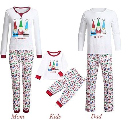 51dd757938f Livoty Family Matching Christmas Pajamas Christmas Cartoon Santa Print Long  Sleeve Top+Pants Family Clothes