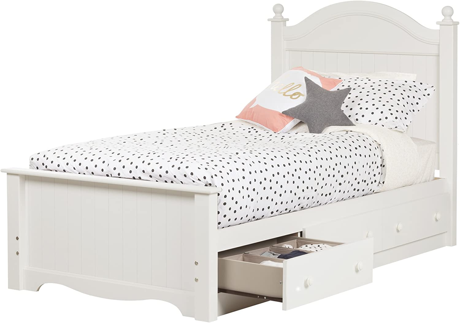 Pure White South Shore Furniture 10506 Savannah Twin Bed Set with 3 Drawers 39