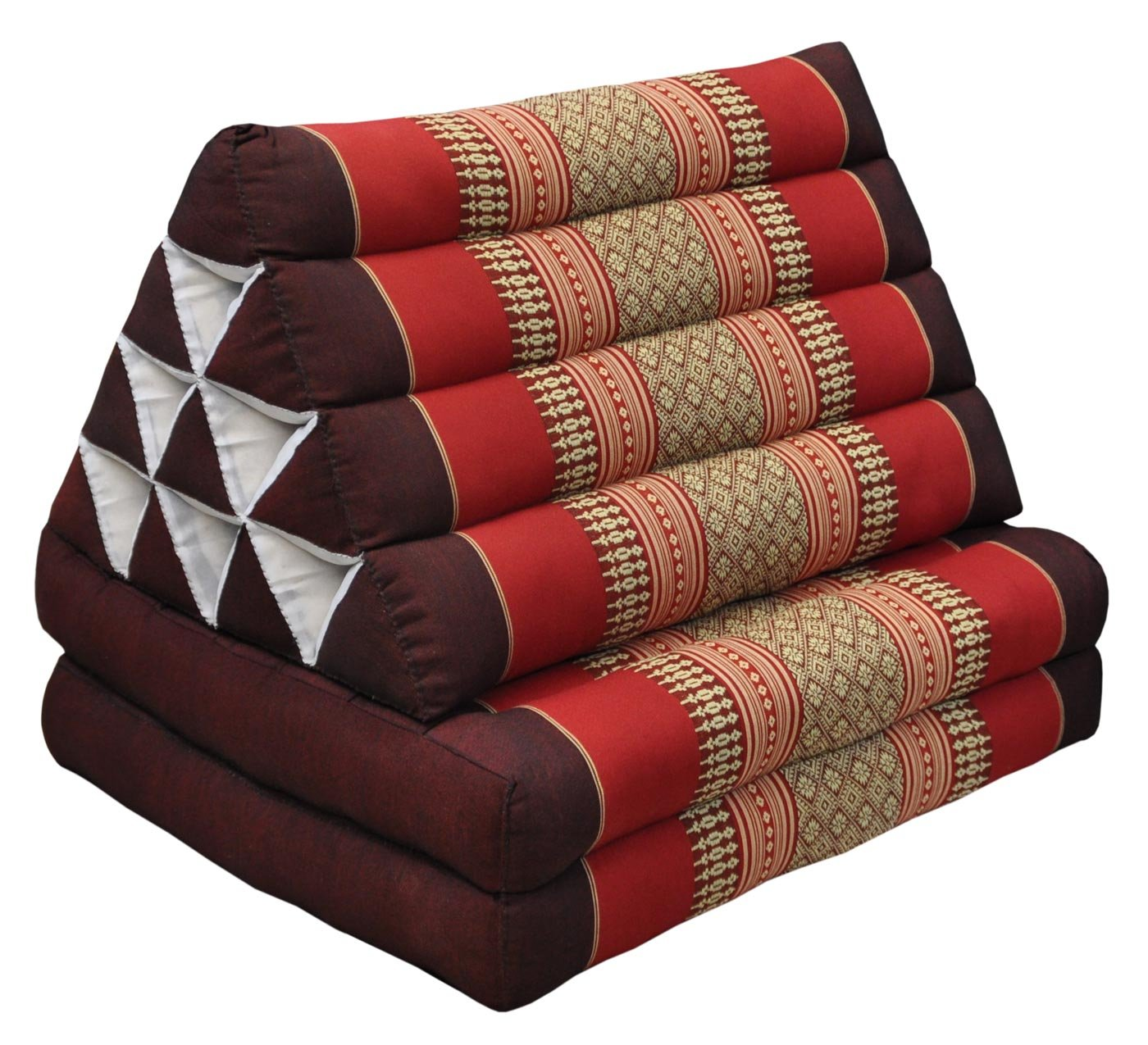Thai triangular cushion with mattress 2 folds, burgundy/red, relaxation, beach, pool, meditation garden (82302) by Wilai GmbH