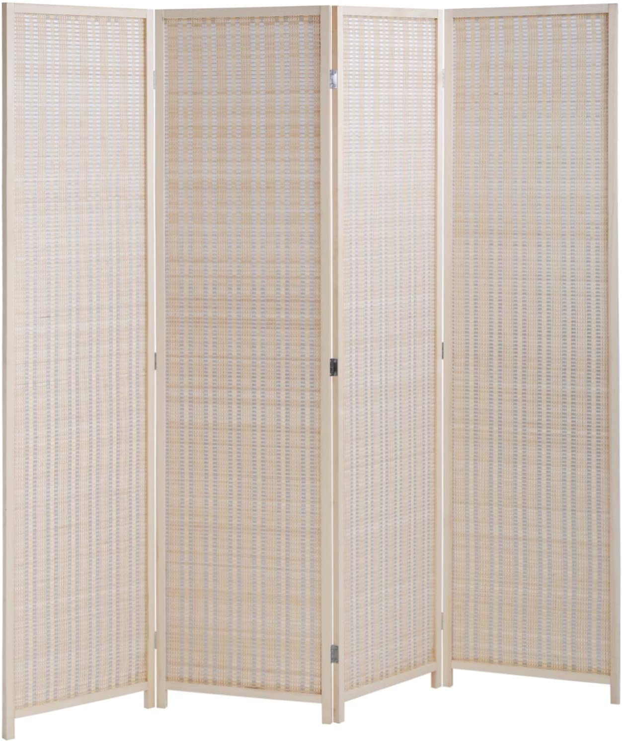 Amazon Com Fdw Room Divider Folding Privacy Screen 4 Panel 72 Inches High 17 7 Inches Wide Room Divider For Living Room Bedroom Study Natural Furniture Decor