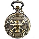 JewelryWe Antique Bronze Anime Skull Cartoon One Piece Style Luffy Quartz Pocket Watch Necklace 31.5 inch Chain, for Xmas
