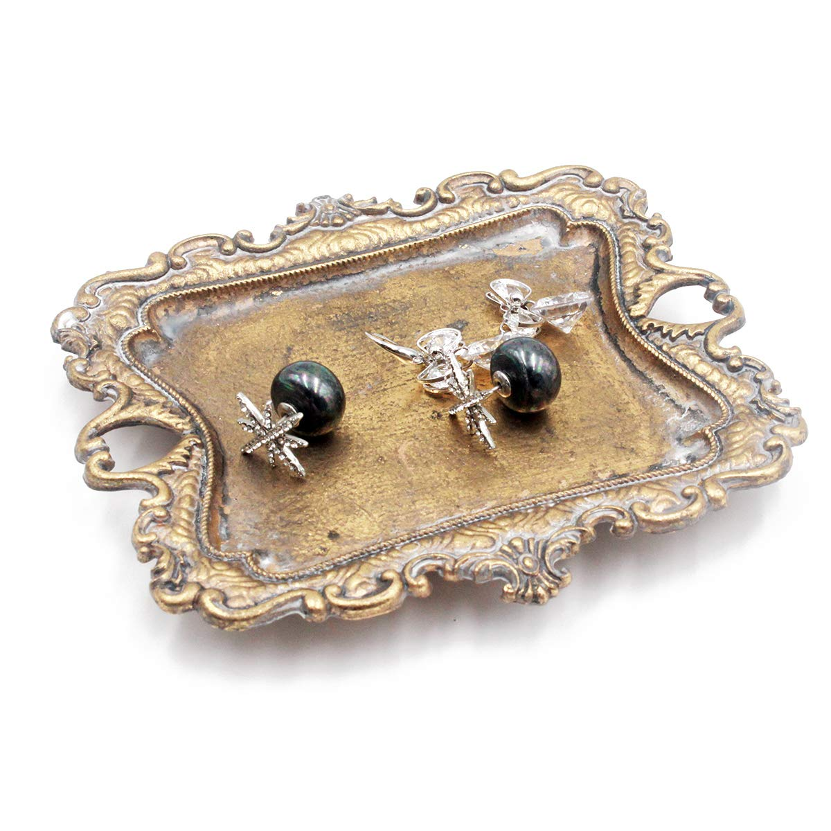 Funly Mee Antique Trinket Tray Vintage Gold Jewelry Dish Ring Holder