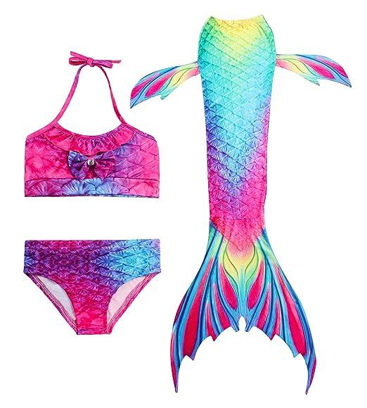 HiFunBay Cola de Sirena niña para Nadar Incluido Traje de Sirena baño de Bikini de 3 Piezas