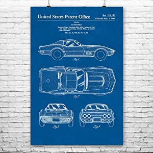 Patent Earth Corvette Mako Shark II Poster Print, Car Collector Gift, Auto Mechanic, Car Lover, Corvette Stingray, Muscle Car