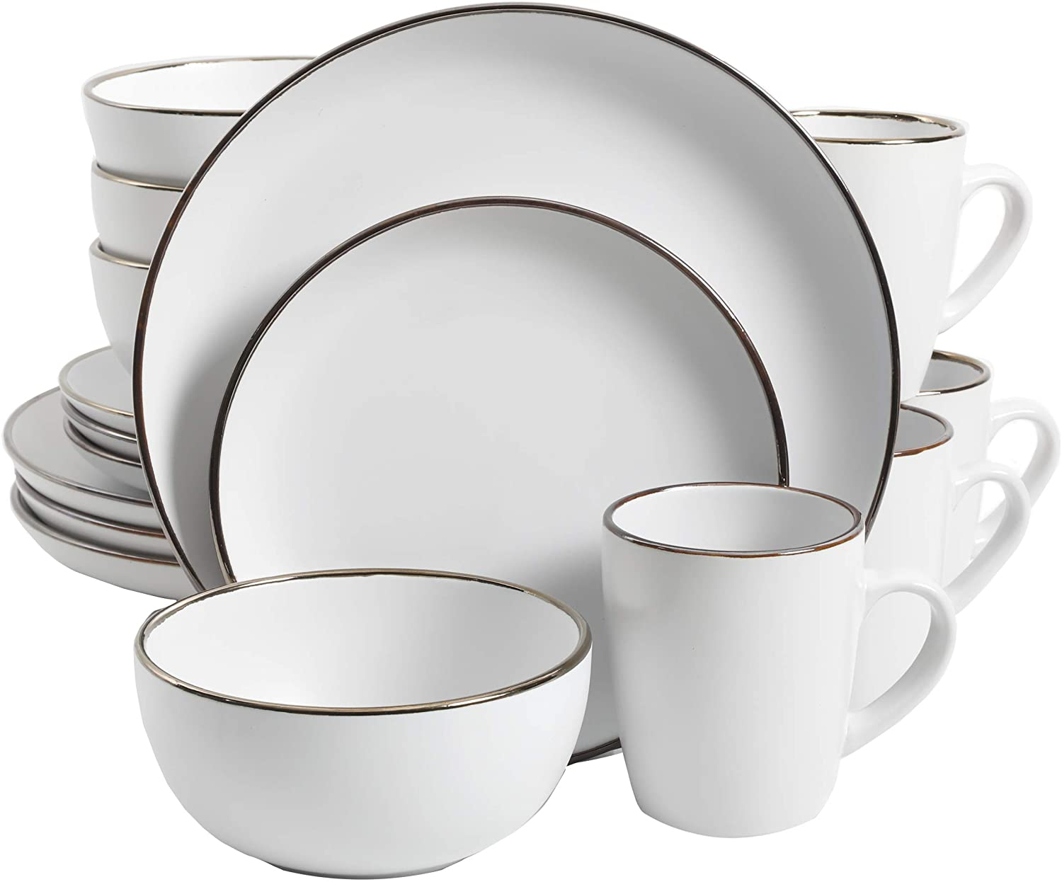 Gibson Home Rockaway Round Stoneware Dinnerware Set, Service for 4 (16pcs), Matte White/Gold Rim
