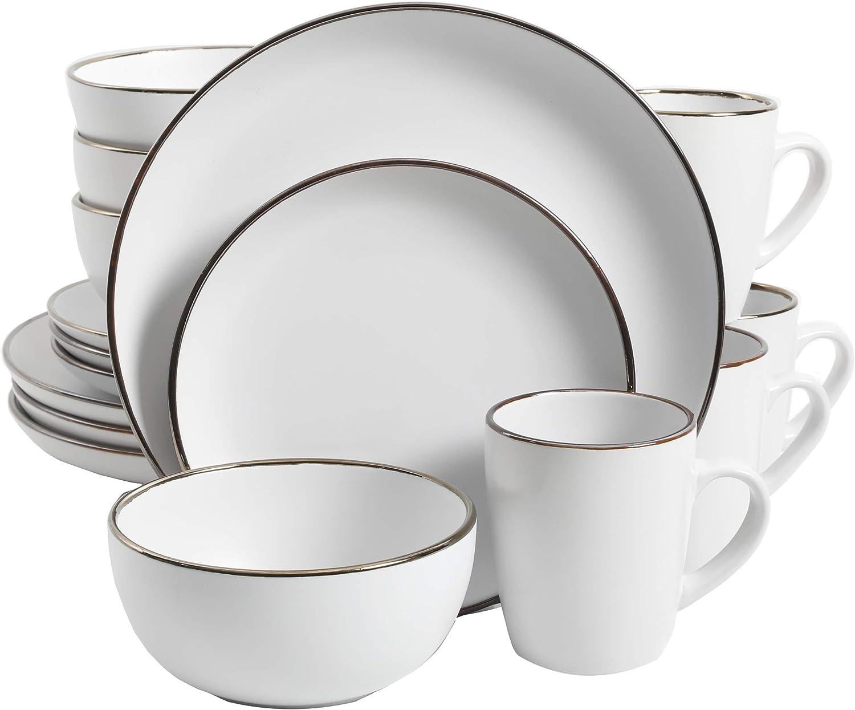 Gibson Home Rockaway Round Stoneware Dinnerware Set, Service for 4 (16pcs), Matte White/Gold Rim