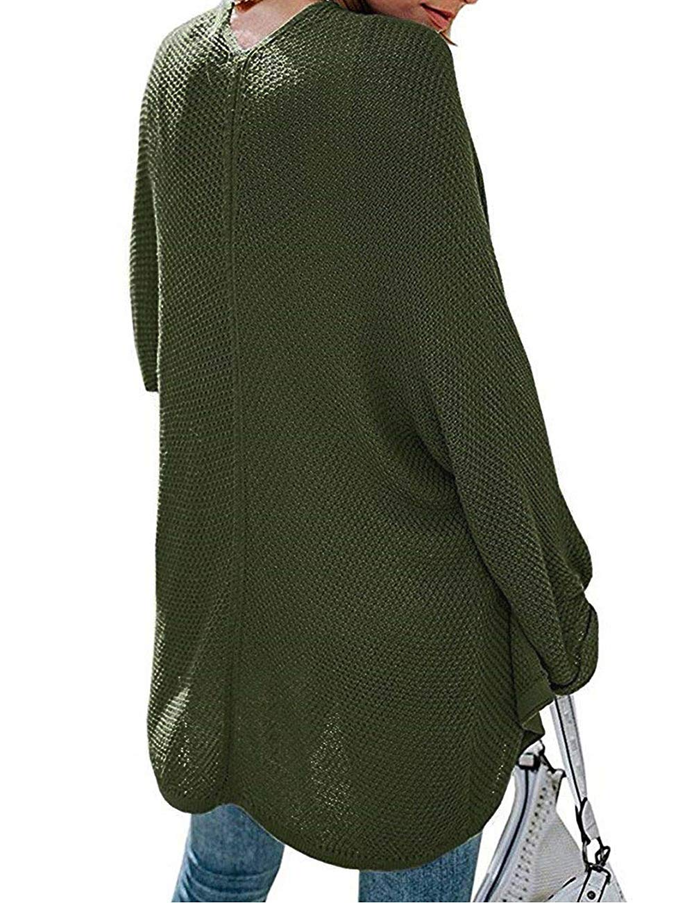 PARIS HILL Softome Womens Long Sleeve Cardigans Oversized Open Front Basic Casual Knit Sweaters Coat Army Green XX Large by PARIS HILL (Image #4)
