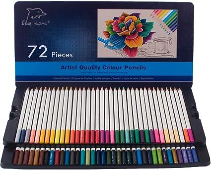 Lápices de colores 72-Pack con estuche de lata, material de escuela de arte para niños y adultos Libros para colorear, lápices de colores blandos: Amazon.es: Oficina y papelería