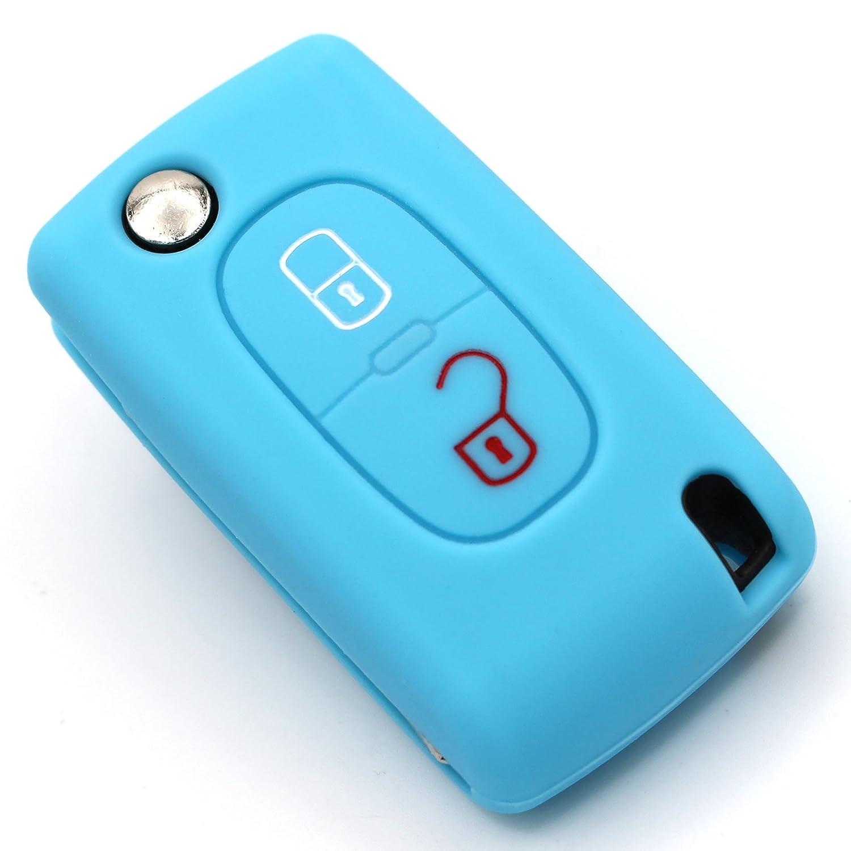 Chiave Custodia Pea per 2/tasti chiave auto in silicone Cover di lucida Folia Nero