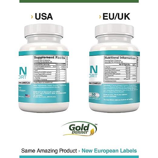 Gold Banner- Apoyo avanzado para la vista con luteína - Pastillas de fórmula para la vista con luteína, arándano, zinc, semilla de uva y vitaminas ...