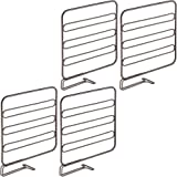 mDesign Wire Shelf Divider, Closet Organizer for Clothing Storage - Pack of 4, Bronze