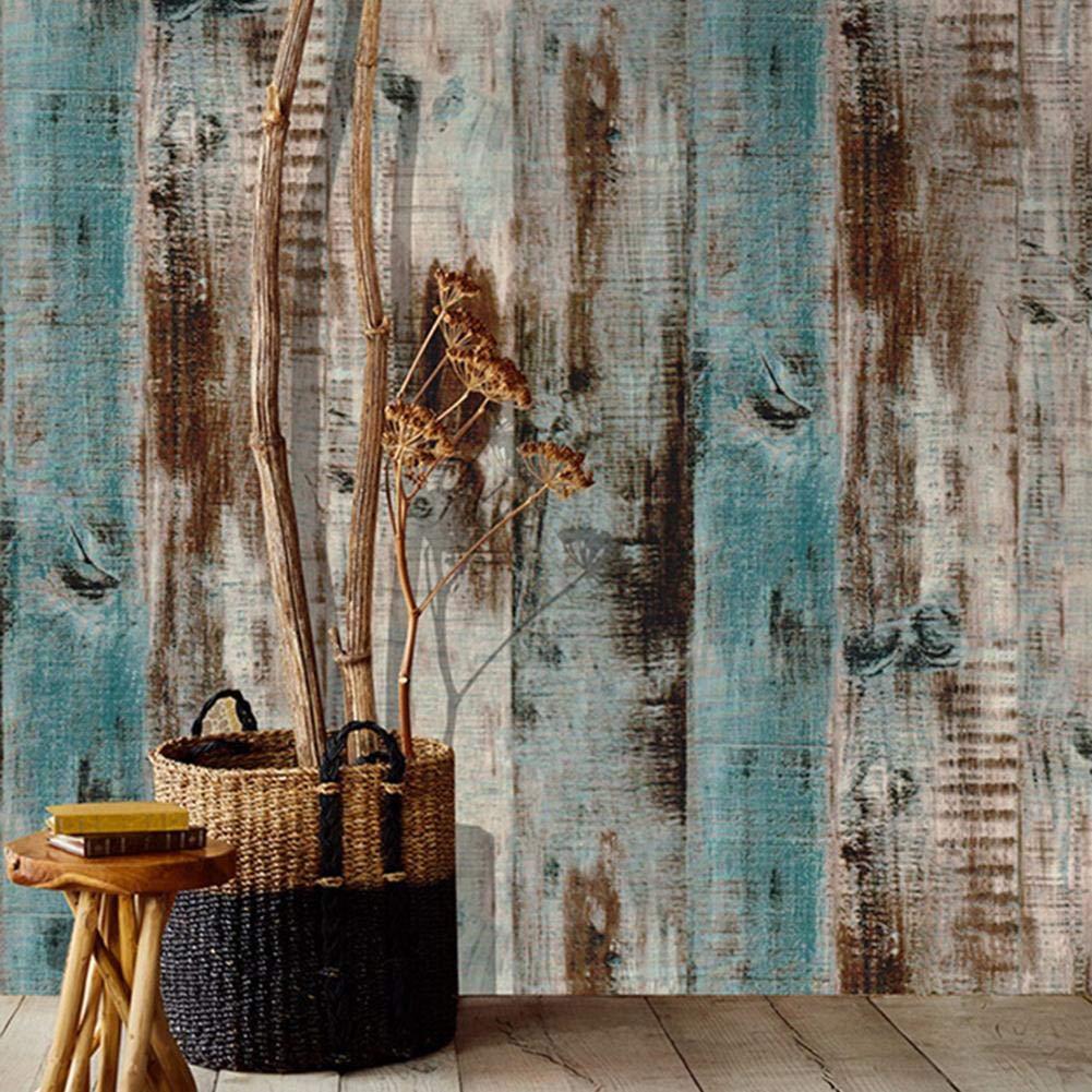 Vintage papier peint de fond de mur autocollant PVC imperm/éable anti-fouling chanvre brun papier peint grain de bois 45 600cm // chaque rouleau