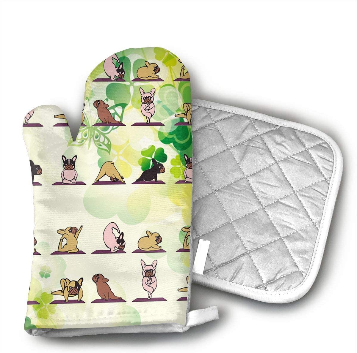 LALABULU Oven Mitts Frenchie Yoga Non-Slip Silicone Oven Mitts, Extra Long Kitchen Mitts, Heat Resistant to 500Fahrenheit Degrees Kitchen Oven Gloves
