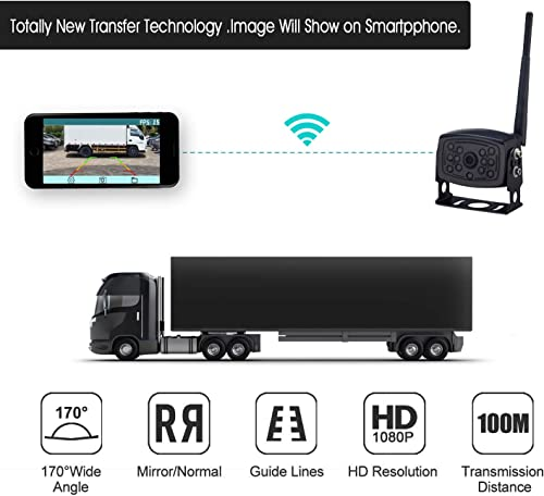 Rohent Digital Wireless Car Backup Camera for Trucks Rvs Trailers Campers The Latest Technology WiFi Backup Camera IP69K Waterproof Wide Angle RearView Camera Works with Smartphone,Tablet, iPhon, iPad