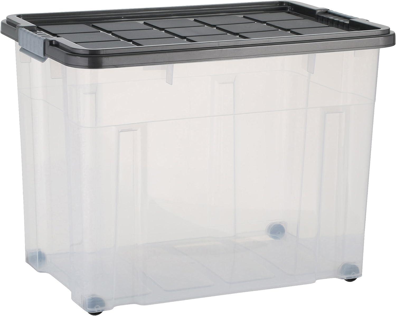 axentia Caja de almacenamiento con tapa y ruedas – capacidad 80 L – 60/40/44,5 cm - Cajonera plegable, Casilla Box de plástico para ropa, juguetes y otros accesorios