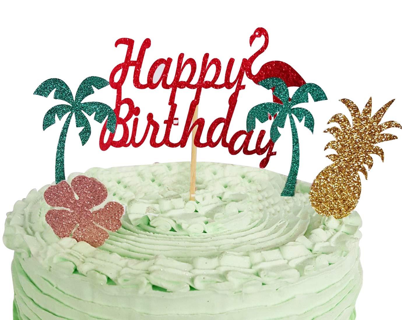 Remarkable Sonsmer Flamingos Happy Birthday Cake Topper Birthday Twinkle Diy Funny Birthday Cards Online Necthendildamsfinfo
