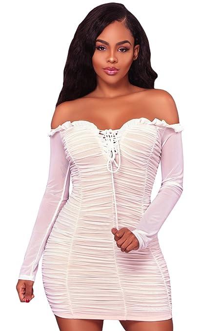 Color blanco y rosa asimétrico One Shoulder vestido de encaje bodycon club wear vestido de fiesta