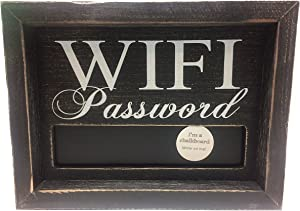 Adam's & Company 19096 Wood Framed Sign With Chalkboard Wifi Password 8 Inches x 6 Inches x 1.5 Inches