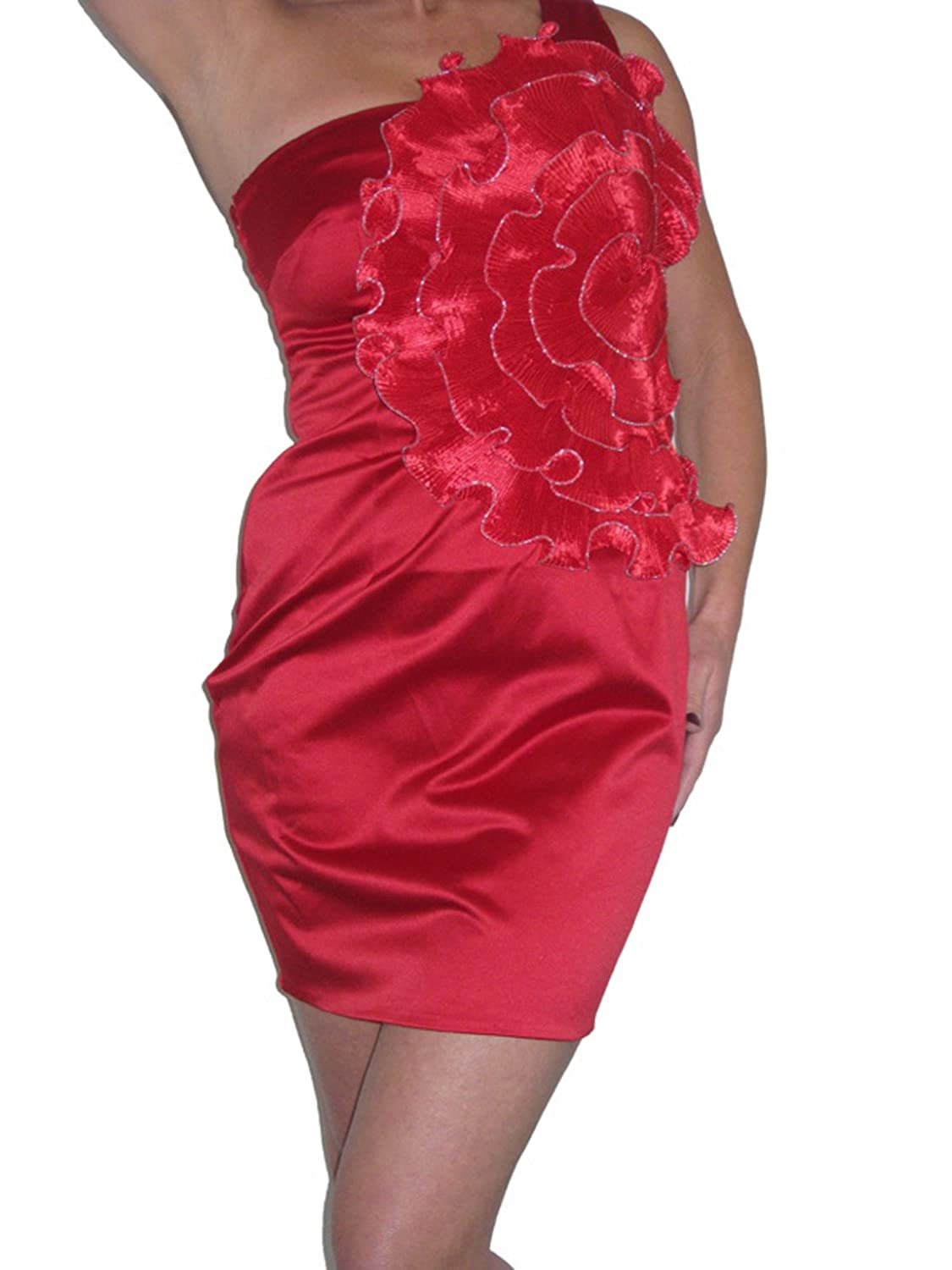 ICE (3898) Ladies Satin Cocktail Dress Red 8-12 Red