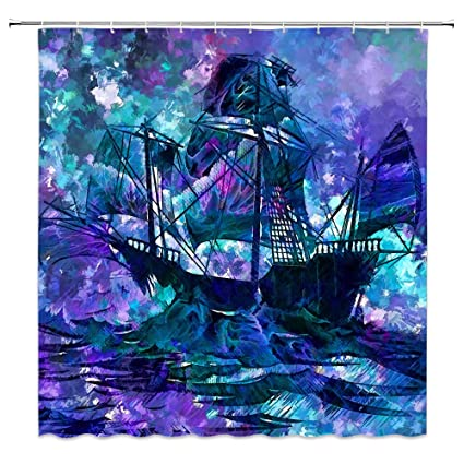 Feierman Ghost Pirate Ship Shower Curtain Abstract Weird Painting Fabric Home Decor Bathroom Machine Washable