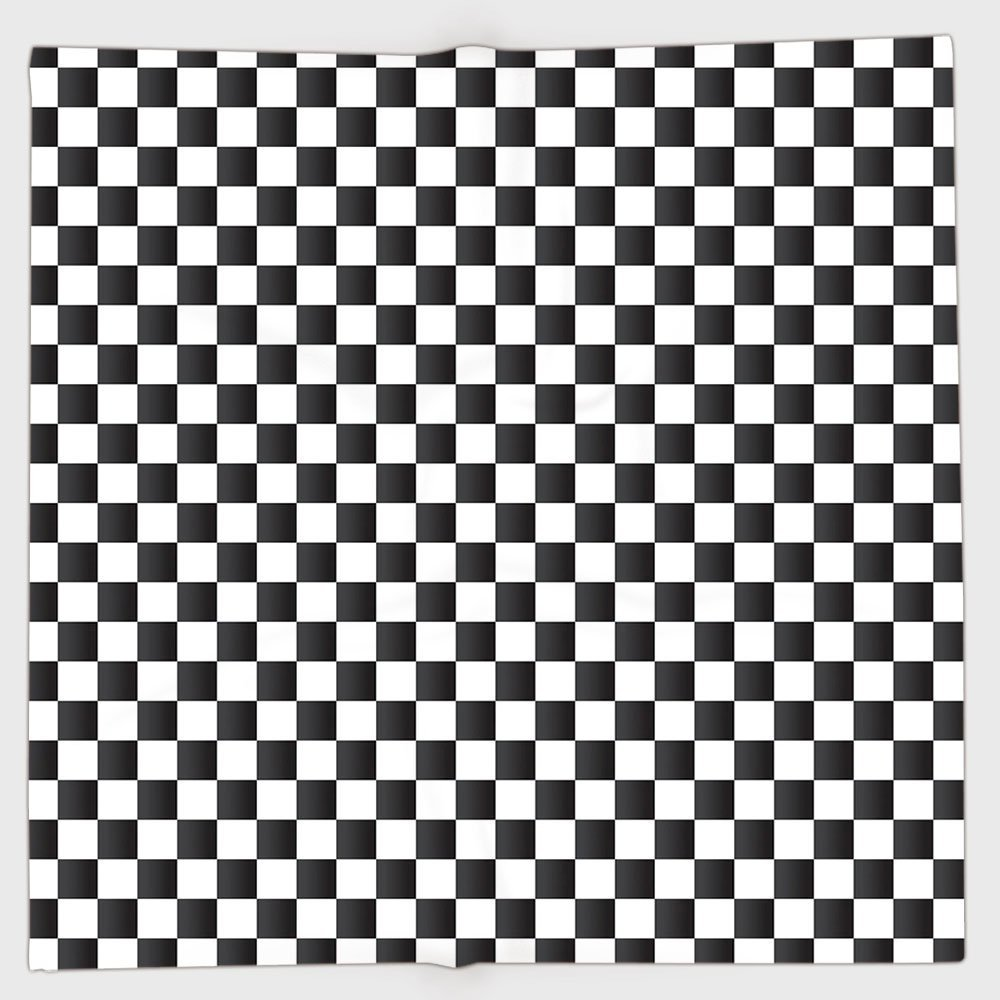 Polyester Bandana Headband Scarves Headwrap, Checkered, Monochrome Composition Classical Chessboard Inspired Abstract Tile Print Decorative, Black White Women Men HongKong Fudan Investment Co. Limited