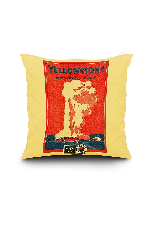 イエローストーン、Old Faithful広告ポスター 18 x 18 Pillow (Full Art Border) LANT-3P-PW-SQ-2290-18x18 B01NAAUG0B  18 x 18 Pillow (Full Art Border)