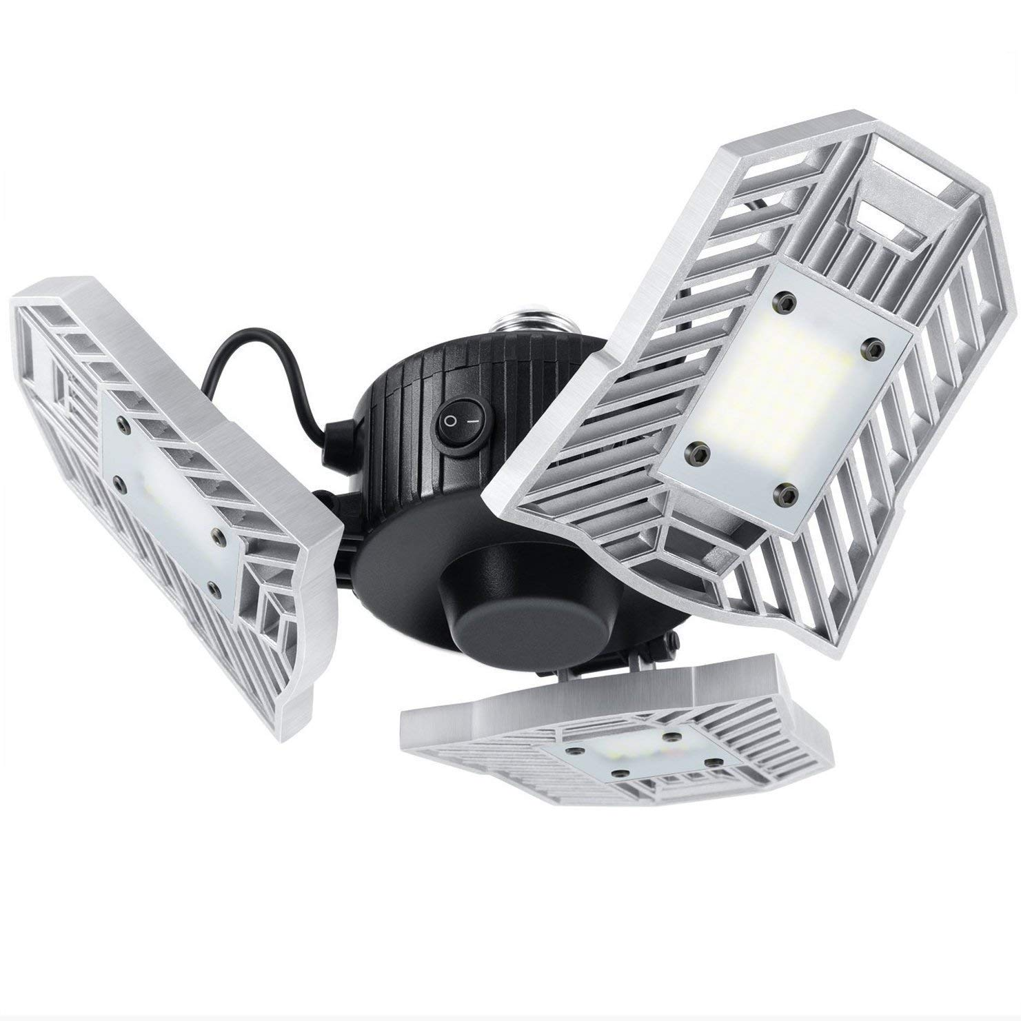 Motion-Activated LED Garage Lighting, 6000 lm Security Ceiling Light with Built-in Motion Detector, 6000K Daylight
